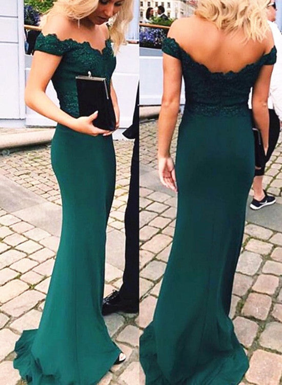 Beautiful Green Off Shoulder Mermaid Party Dress 2019, Dark Green Party Dress 2019
