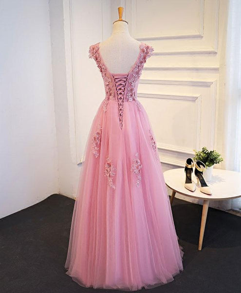 Pink Tulle Round Neckline Long Party Gown, Pink Party Dress