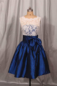 Navy Blue Taffeta with White Lace Bridesmaid Dress with Bow, Beautiful Short Formal Dress
