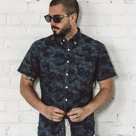 The Short Sleeve Jack in Indigo Jacquard Camo - alternate view