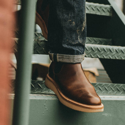 Our fit model wearing the Ranch Low in Whiskey.