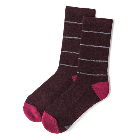 The Merino Sock in Maroon Stripe - featured image