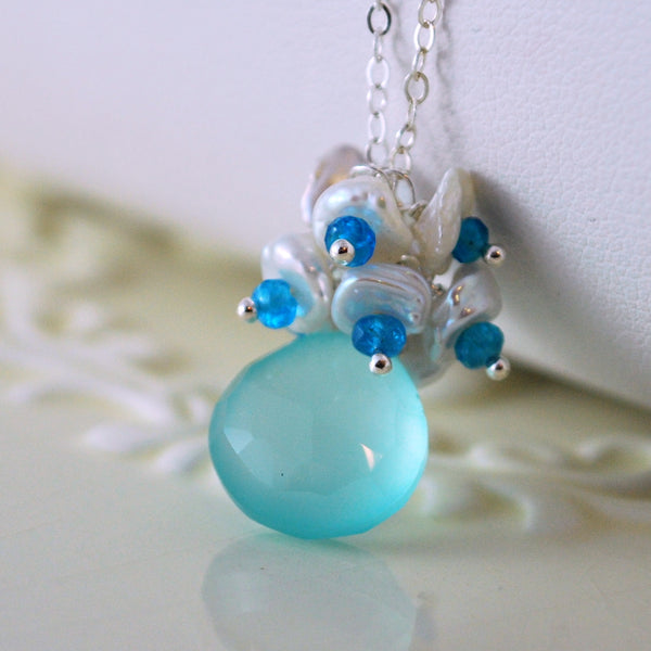 Aqua Chalcedony Necklace with Keishi Pearls - Dewdrop