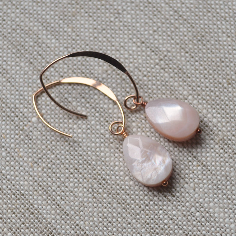 Pink Mother of Pearl Earrings in Rose Gold