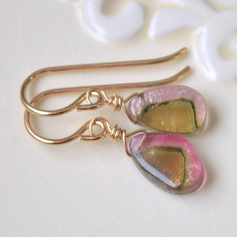Watermelon Tourmaline Slice Necklace in Gold