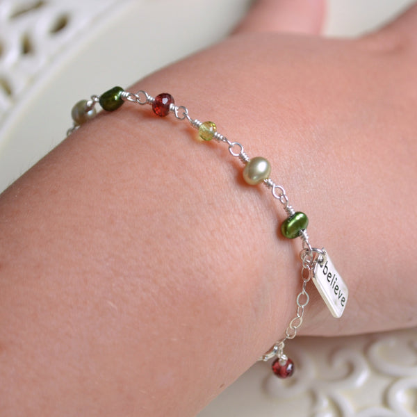 Child's Christmas Bracelet with Pearls and Gemstones