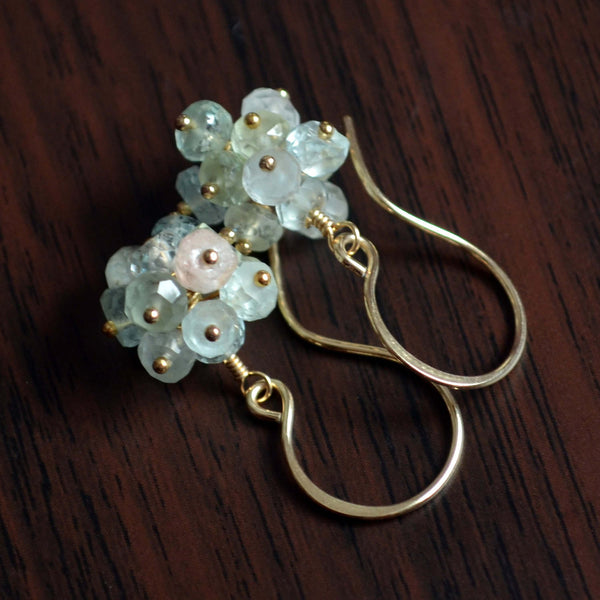 Real Aquamarine Earrings with Pastel Gemstone Clusters