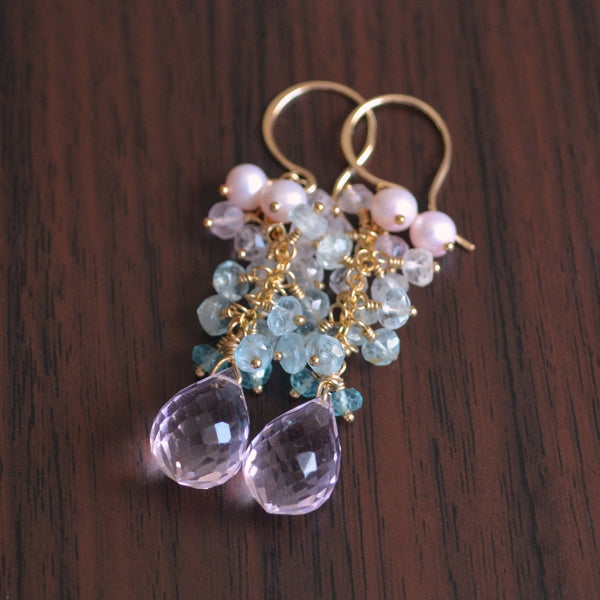 Pastel Earrings in Aquamarine Apatite and Morganite Quartz