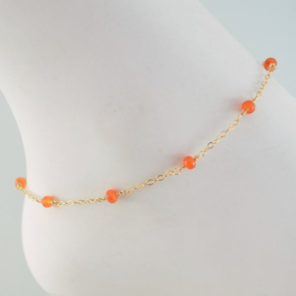 Gemstone Anklet with Bright Orange Carnelian