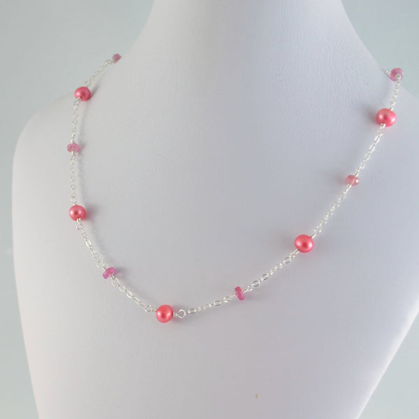 Coral Freshwater Pearl Necklace in Sterling Silver