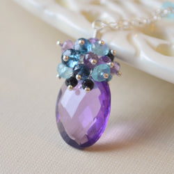 Amethyst Gemstone Necklace with Apatite and Spinel - Purple Peacock