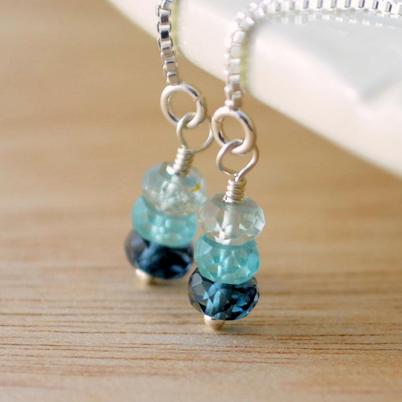 Sterling Silver Threaders, Aquamarine Apatite, London Blue Topaz