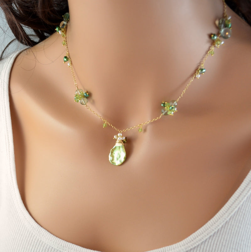 Green and White Gemstone and Pearl Necklace - Lily of the Valley