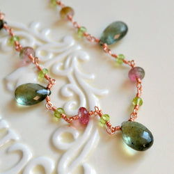 Spring Wedding Necklace with Moss Aquamarine and Watermelon Tourmaline - Spring Moss