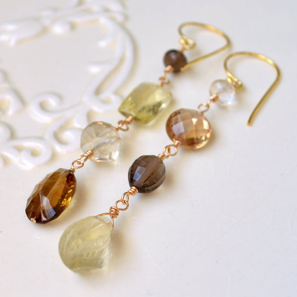Mismatched Earrings with Shades of Gold