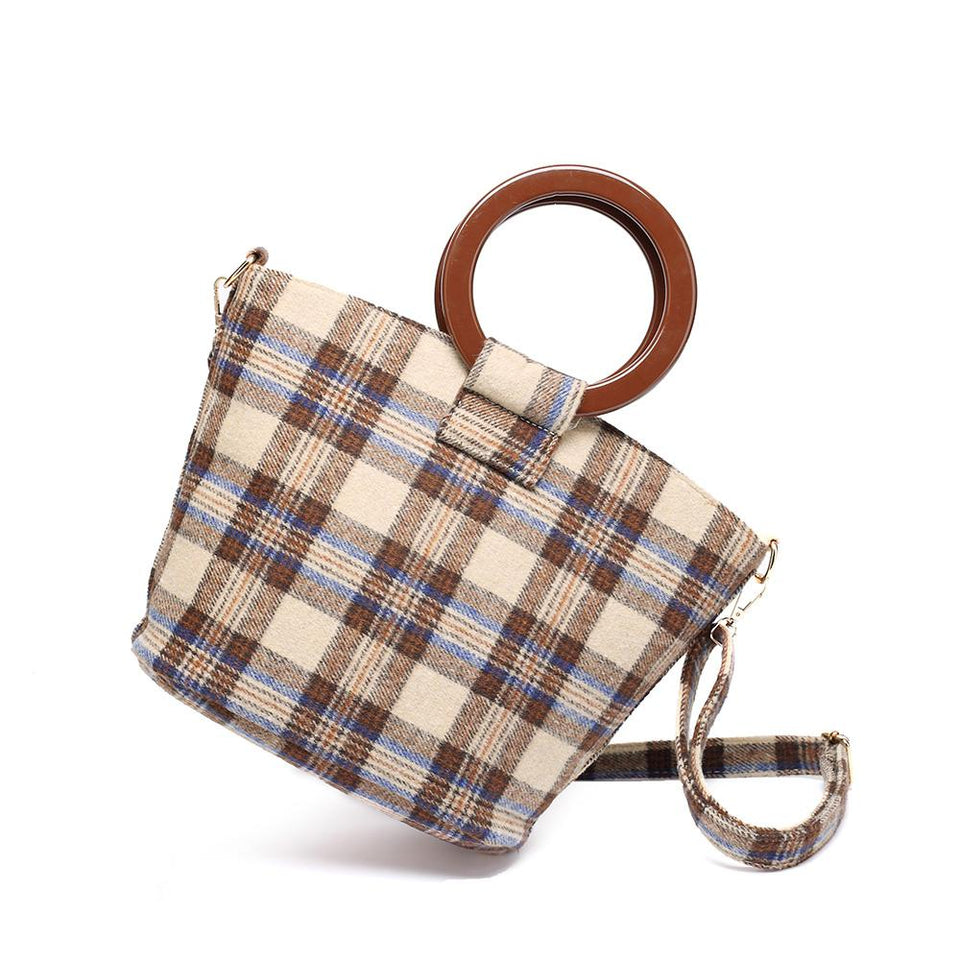 Wood arylic ring handle tartan tote in Brown - 2-way carry