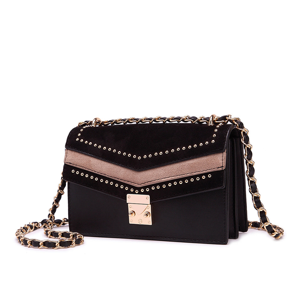Studded colourblock faux suede crossbody bag in Black