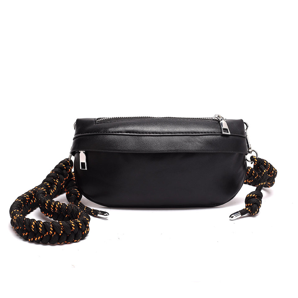 Plaited belt PU leather fanny pack in Black