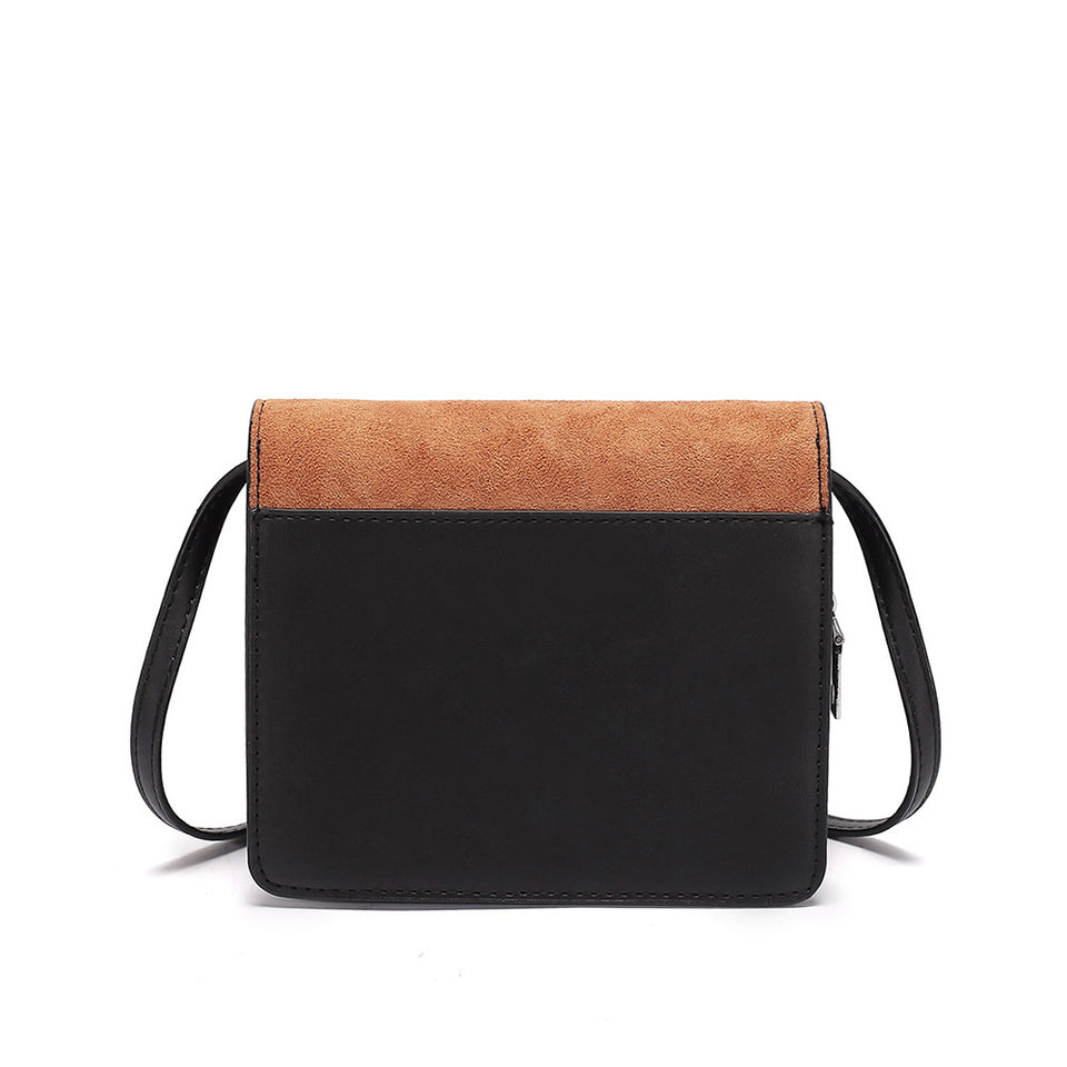 Colourblock faux suede leather crossbody bag in Brown
