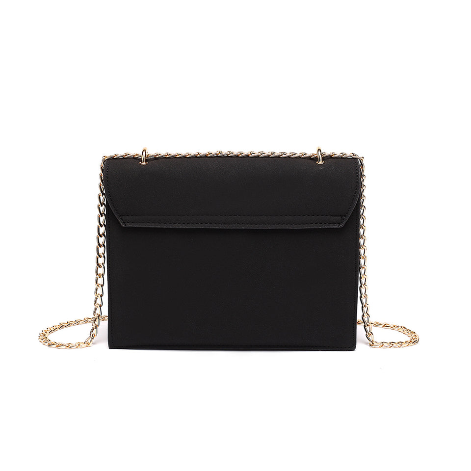 Cable chain fringed faux suede crossbody bag in Black
