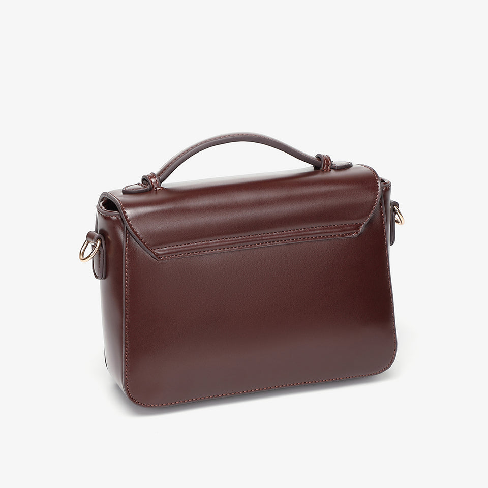 Buckled strap PU leather satchel bag in burgundy