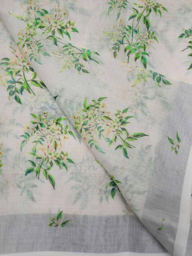 Cotton Linen Fabric With Zari Border