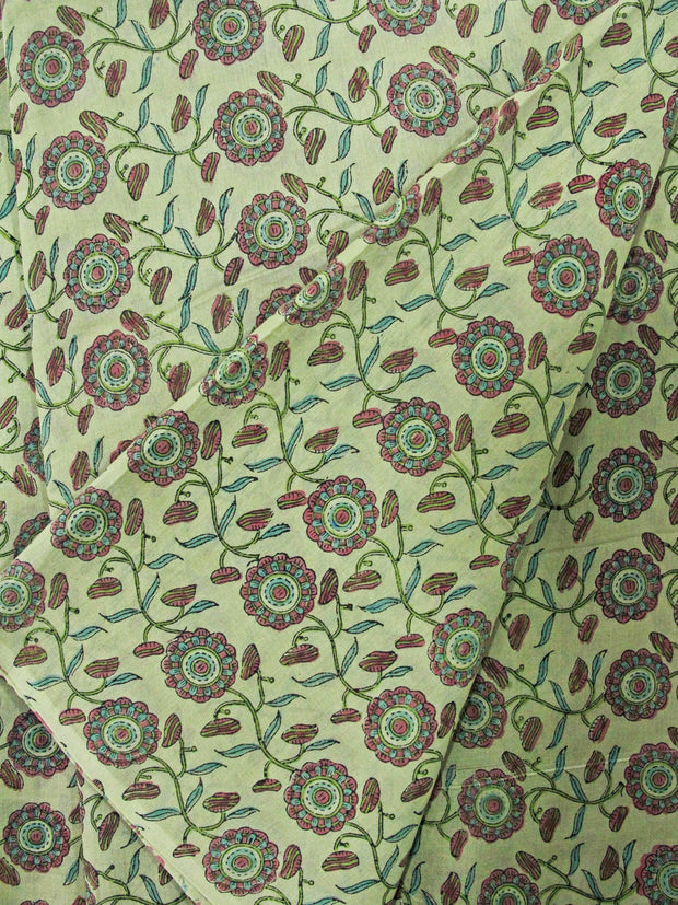 Pure Chanderi Silk Mughal Printed Fabric