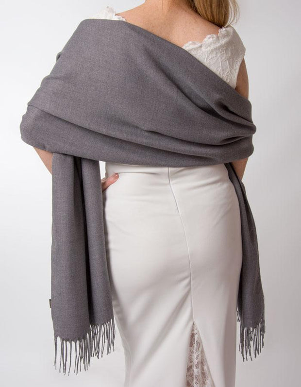 Dark Grey Wedding Pashmina