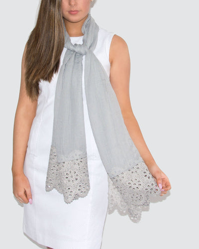 Cotton Mix Lace Trim Scarf Grey