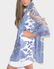 an image showing a lace panel pashmina in blue