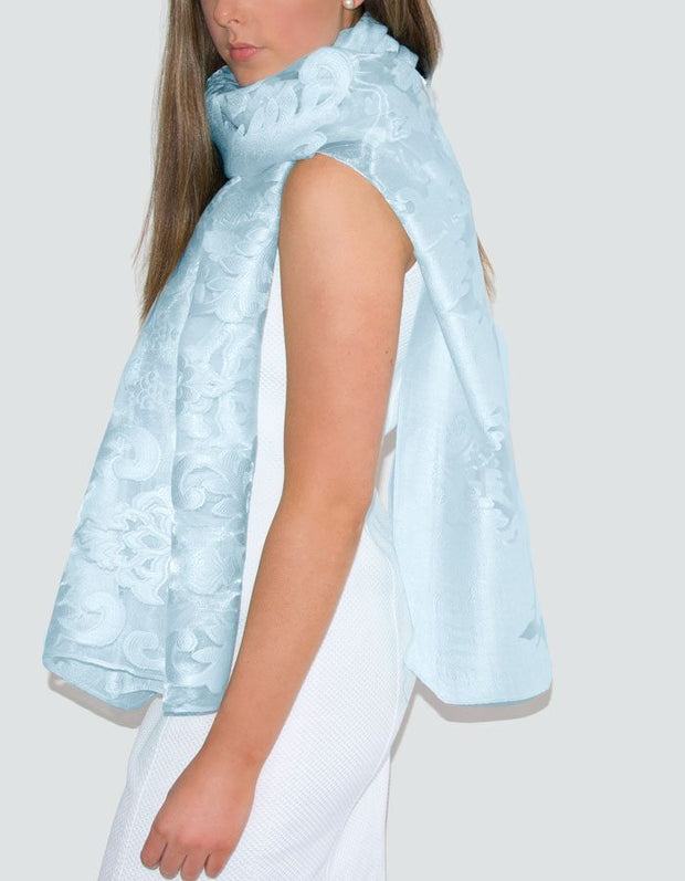 an image showing a lace panel pashmina in pale blue