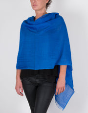 Royal Blue Shawl Wool Silk Mix