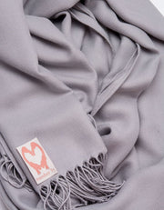 an image showing a close up of a pashmina in Mid Grey
