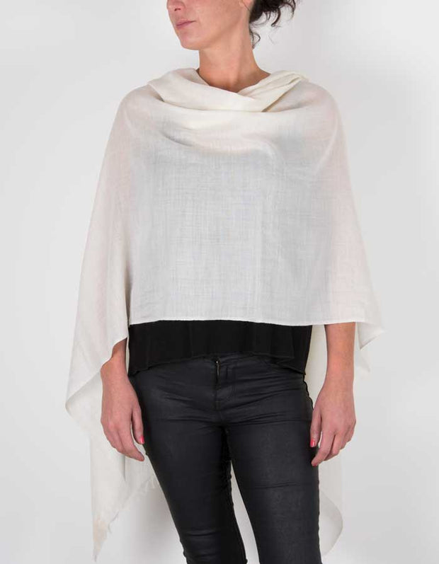 an image showing a silk wool mix pashmina in ivory