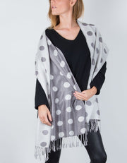 an image showing a Reversible Grey And Silver Large Polka Dot Pashmina Shawl Wrap Scarf
