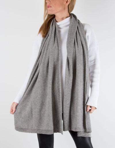 an image showing a cashmere mix scarf in mid grey