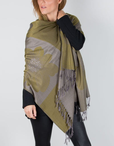an image showing a green patterned pashmina