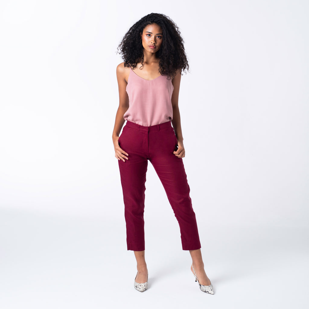 Berry Linen Trousers