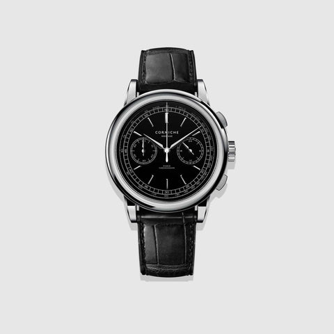 Corniche Watch Men's Heritage Chronograph In Steel with Black dial