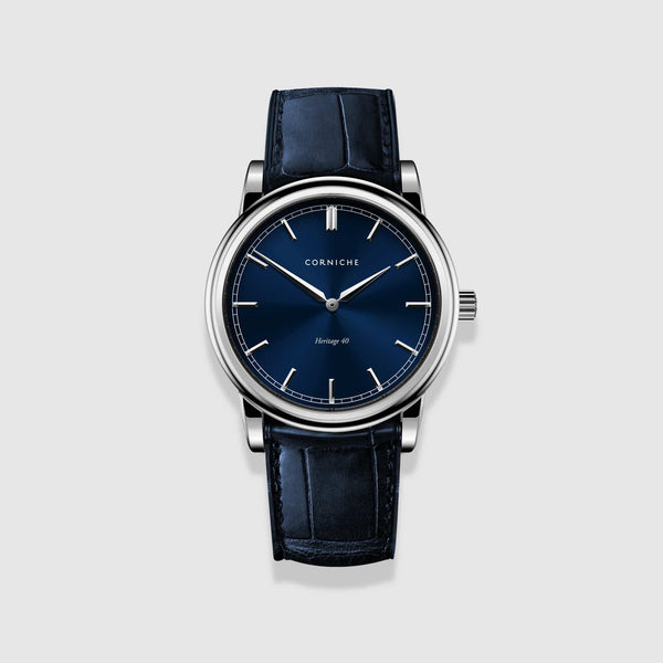 Corniche Watch Men's Heritage 40 In Stainless Steel with Blue Dial