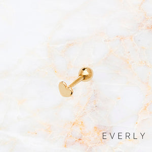 Solid Gold Heart Stud