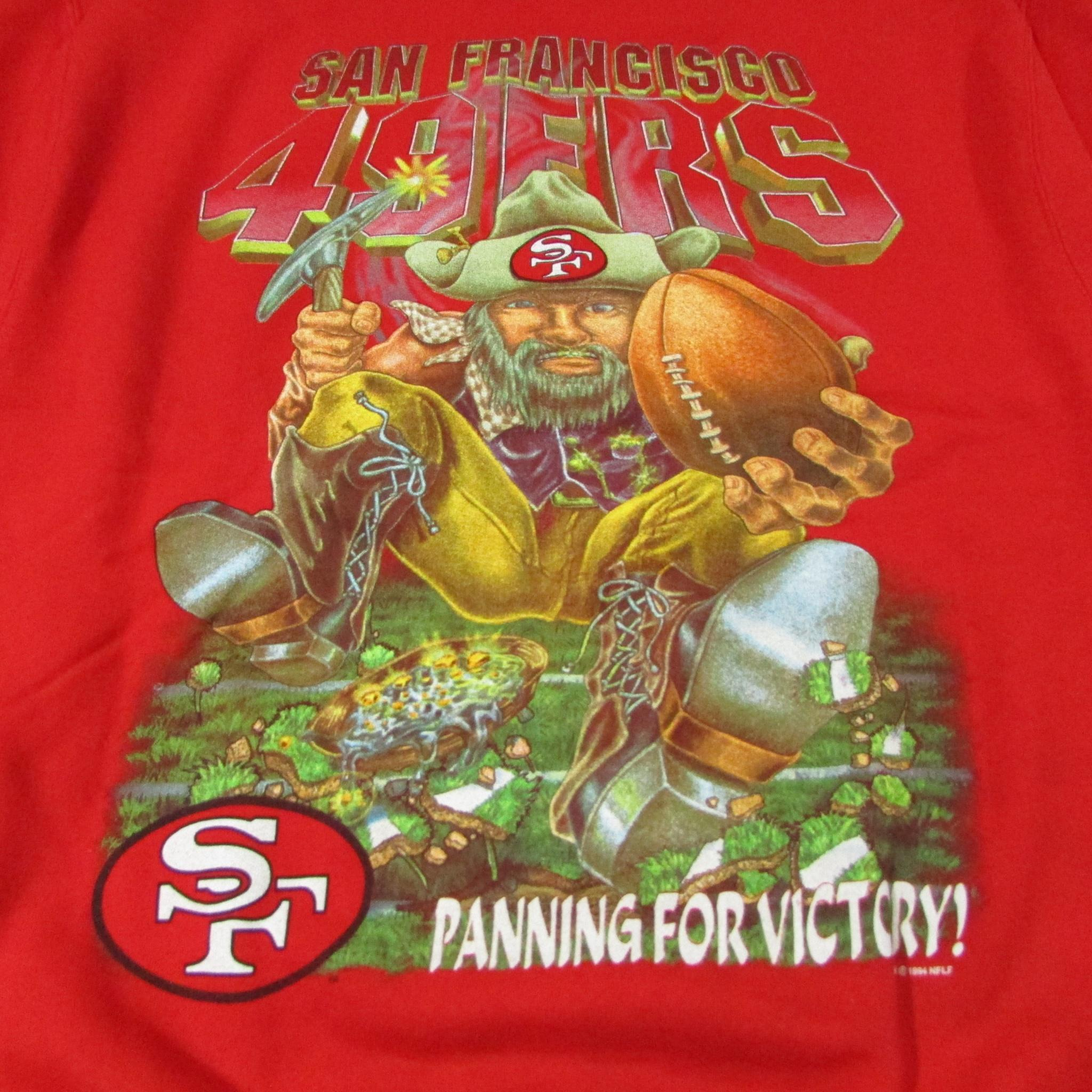 San Francisco 49ers Gold Rush Panning for Victory Vintage Football Sweater Sz XL