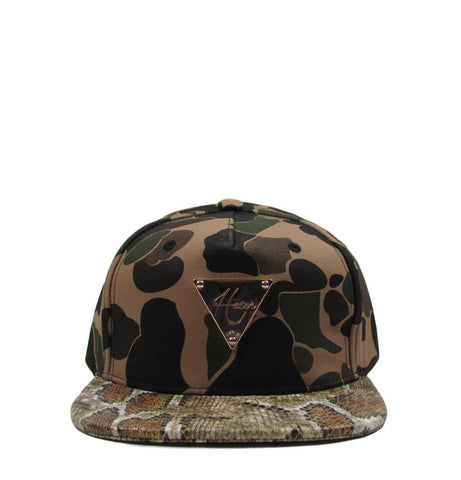 HATer Camouflage Python Snake Leather Premium Gold Buckle Strapback Hat