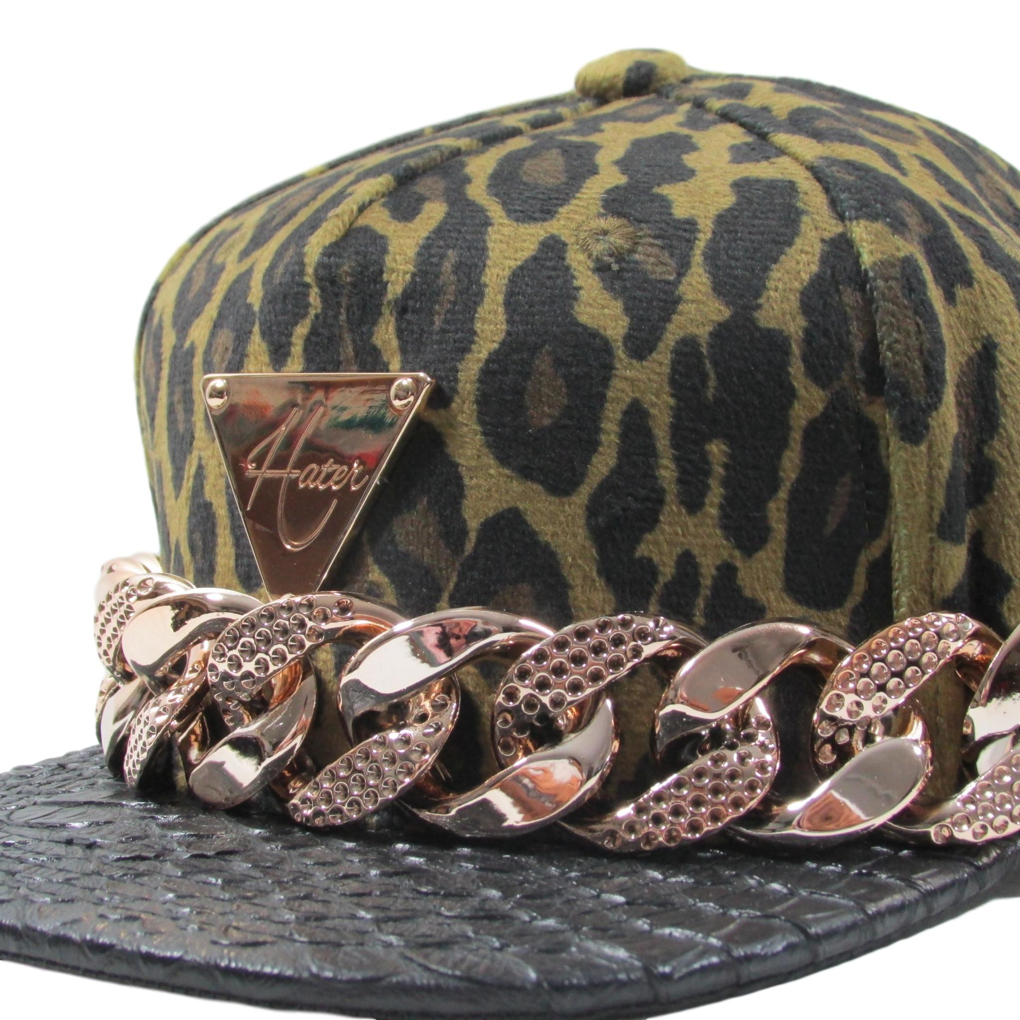 HATer Gold Chain Cheetah Velour Print Strapback Hat Leather Brim Snapback