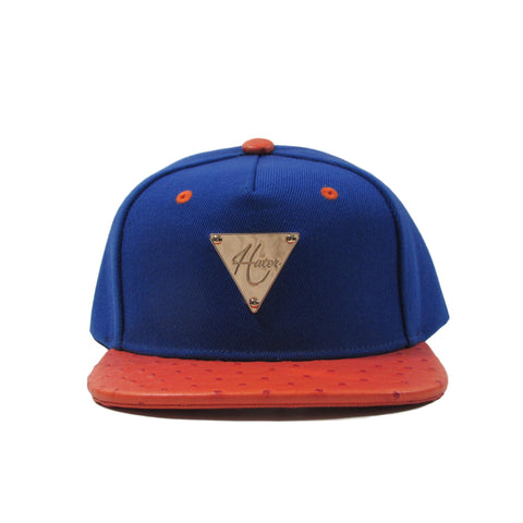HATer New York Ostrich Leather Snapback Hat w/ Knicks Colors