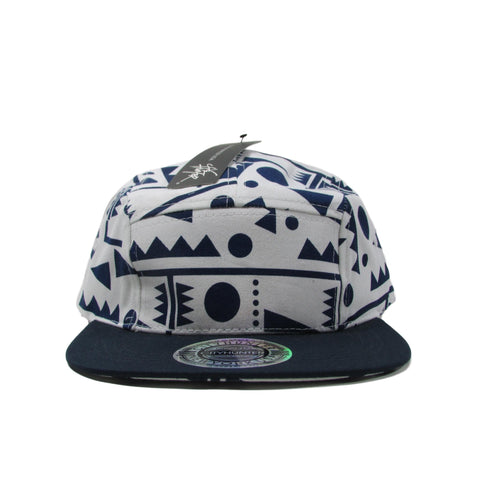 City Hunter Fresh Prince 5 Panel Navy Blue Strapback Hat New
