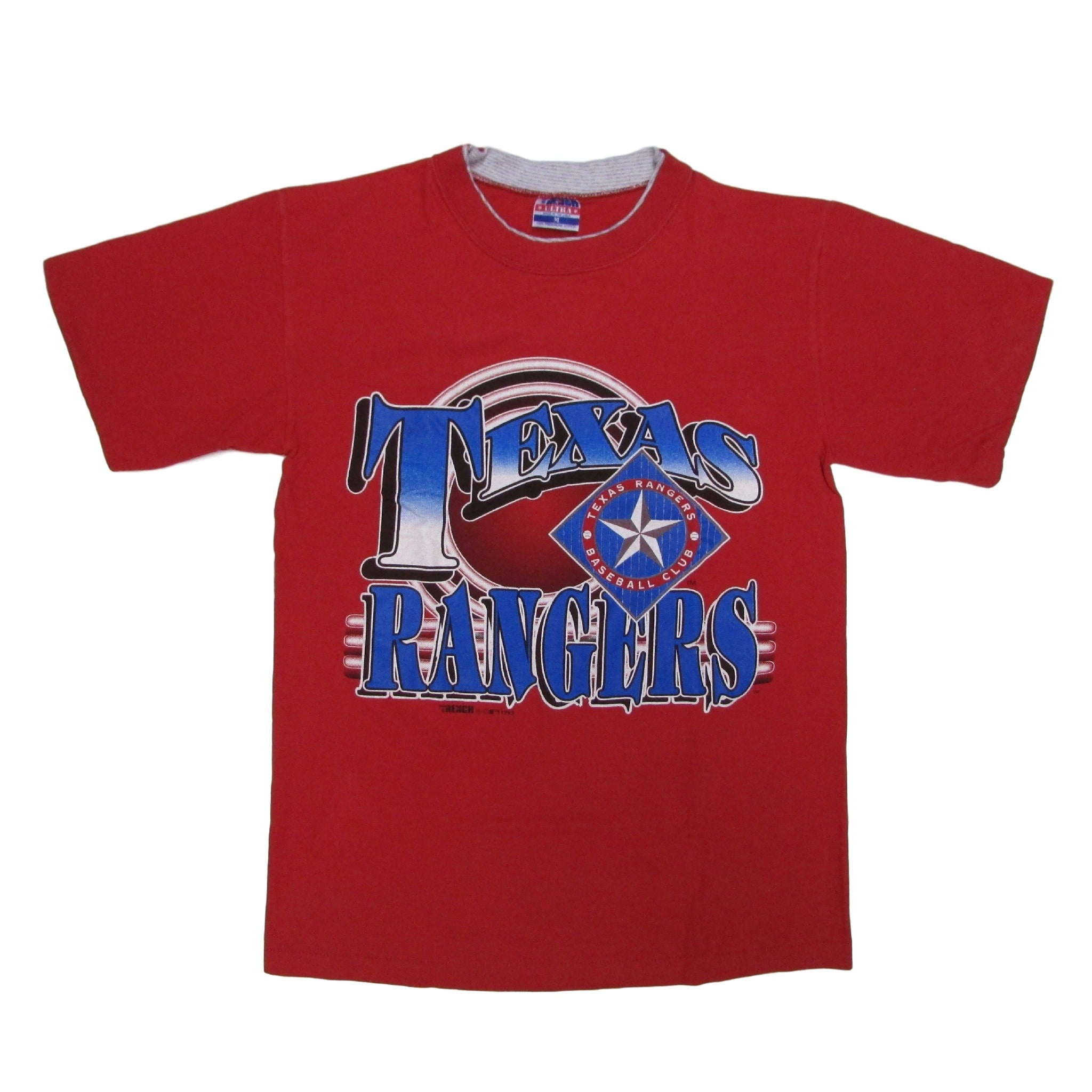 Texas Rangers Vintage Double Collar Baseball T-Shirt TRENCH ULTRA Sz M