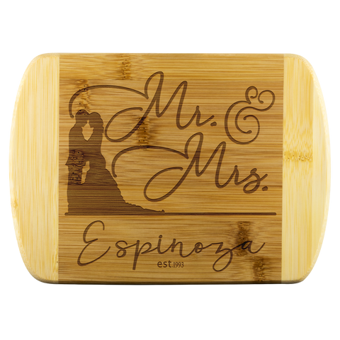 Mr. and Mrs. Personalized Bamboo Cutting Board