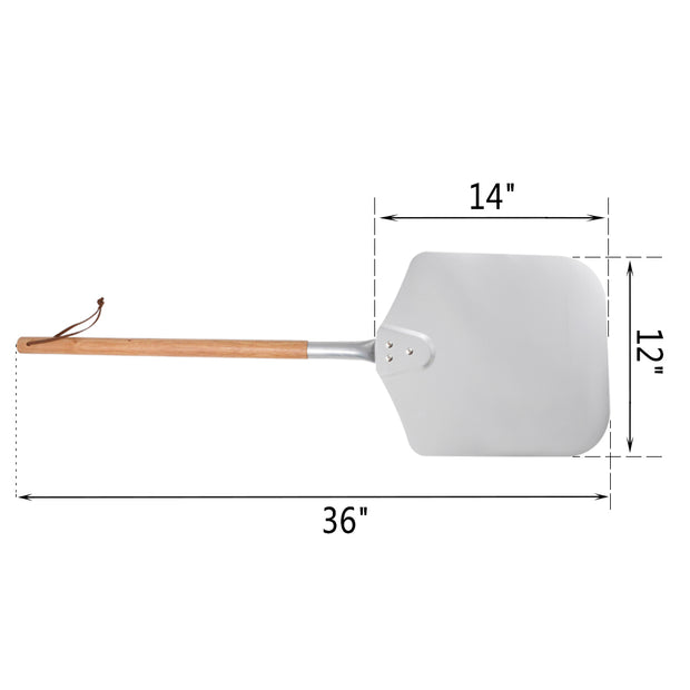 "Large Aluminum Pizza Peel with Wooden Handle, 12"" x 14"" For Pizza Grill Oven, 36"" Overall"