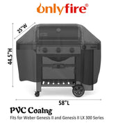 "only fire 58-inch Grill Cover Fits for Weber Genesis,Genesis II and Genesis II LX 300 Series Gas Grills Char-Broil Nexgrill Brinkmann and More(58"" L25 W44.5H)"